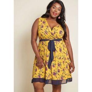 ModCloth Plus Size Mustard Floral Jersey Dress